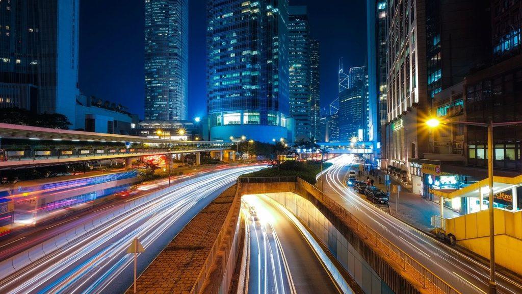 夜景 夜 都会 高速道路
